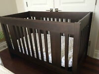 Espresso Wood Crib, Solid Wood, Made in Canada, College Woodwork