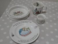 Wedgewood 1980's Peter Rabbit children's dinner set with mug bowl egg cup and plate