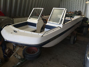 REDUCED 16 ft open bow Tri hull boat and trailer