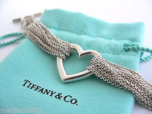 Tiffany Sterling Silver Heart Mesh Bracelet