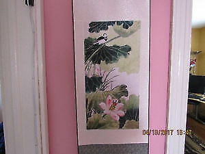 Original Chinese silk wall art print - birds on a sakura tree