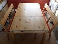 IKEA Pine 4 Person Dining Table & 2 Benches FREE Cambridge Delivery