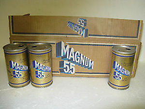OLD CASE OF 12 STEEL CANS   MAGNUM 5.5 O'KEEFE ALE CANADA