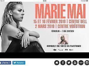 4 billets Marie-Mai 15 Fevrier centre bell section 115 Rangée L