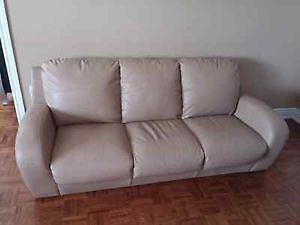 Couch/Sofa Tan/Ivory Leather,Ceiling Light,6 panel Doors