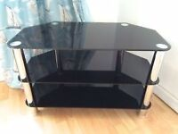 Three tier black glass and chrome tv stand/unit