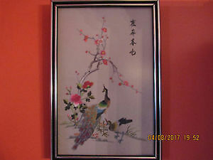 Authentic vintage Chinese silk needlepoint picture of peacocks
