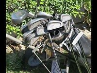 FULL SET OF GOLF CLUBS - including trolley, putter and ball retriever