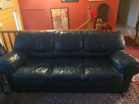 Leather 3 seat couch - teal colour