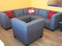 6 PC RECEPTION AREA MODULAR GREY SECTIONAL COUCHES - AS NEW