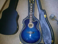 Blue Yamaha Electric Acoustic with built in tuner