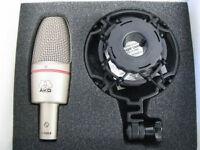 AKG C3000B condenser studio microphone bundle (shock mount and popkiller K&M)