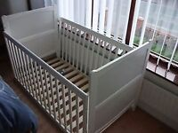 White cot bed with mattress hardly used