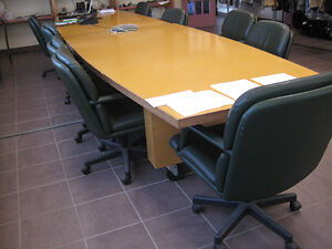 Long conference desk, chairs, tables...