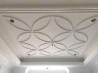 Plaster  crown moulding & cast stone mantel fireplaces