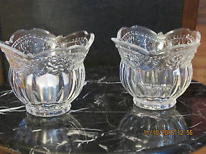 Two small crystal candle holder vases, BRAND NEW in a box