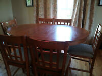 Oak Pub height table and 6 matching chairs