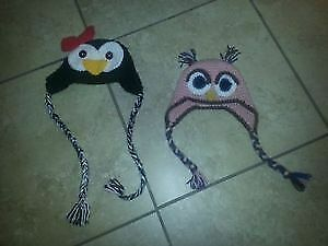 Two BEAUTIFUL Girls12-24M Winter Hats- Penguin & Owl