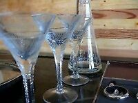 Antique crystal decanter and 3 glasses.