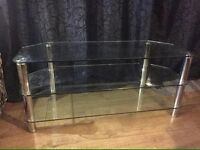 Modern Clear Glass TV Table/ Stand with Shelfs Condition Can Deliver