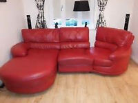 red leather corner sofa plus matching electric recliner chair