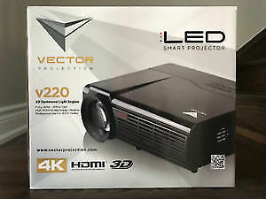 "BRAND NEW UNOPENED Vector v220 4K HDMI 3D Projector & 72"" Screen"