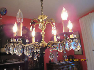 Authentic Solid Brass and Hanging Crystals Ceiling Light