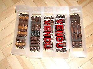 Mixte bois perles extensible élastique Bracelets 3 modèles.