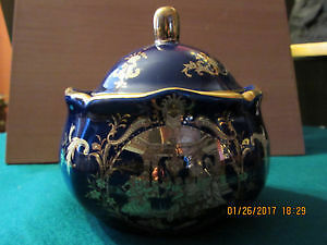 Vintage porcelain goldplated sugar bowl