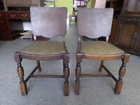 20% OFF ALL ITEMS SALE - Pair of solid wood dining chairs for upholstery project