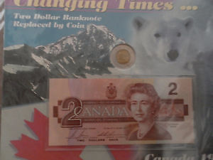 awesome Collectible Two Dollar Bank Note & Coin Set MINT!!!!!!!! London Ontario image 1