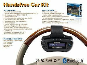 STEERING WHEEL MOUNT HANDSFREE BLUETOOTH SPEAKER W/FULL CAR KIT