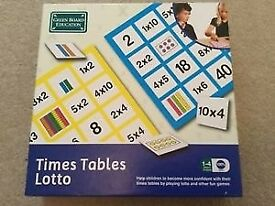Green Board Education Times Tables Lotto NEW Game