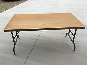 Wooden Banquet or Work Rectangular Table With Metal Folding Legs
