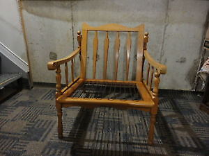 Vintage solid wooden lounge chair with black/gold accent cushion London Ontario image 5