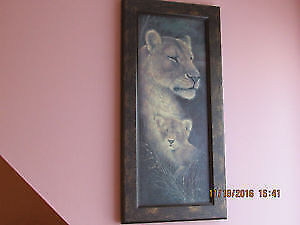 Beautiful Lions wooden print