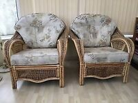 Clean 5piece conservatory suite double settee 2 chairs and foot stool, can deliver locally