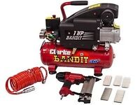 BRAND NEW BOXED AIR COMPRESSOR WITH STAPLE/NAIL GUN COMPLETE SET UP WITH NAILS & STAPLES INCLUDED
