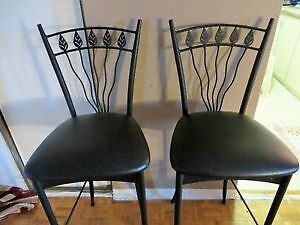 Pair Leather Bar chairs