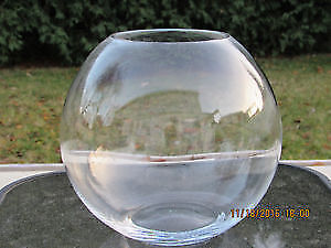 Thick glass spherical vase
