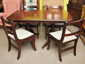 FURTHER REDUCTION!! Extendable Dining Table & 4 Reupholstered Chairs - Can Deliver For £19
