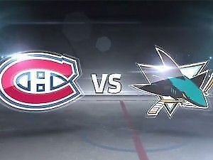 2 BILLETS TICKETS SHARKS SAN JOSE CANADIENS GRIS 303 A CENTER