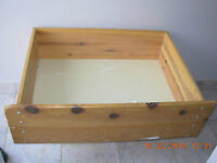 Wheeled under the bed solid pine storage drawer,smoke free