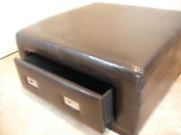 Leather Ottoman with Drawer - Mint