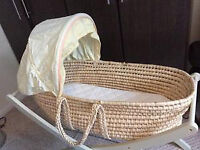 mothercare moses basket with almost new mattress (2 nights sleep) and a new and still packaged sheet
