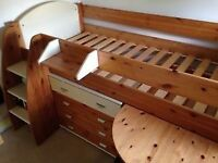 Stompa cabin bed with draws, book shelves, desk and cupboard