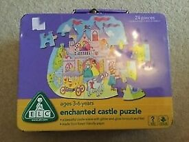 ELC Enchanted Castle Jigsaw Puzzle in a great metal carry tin case