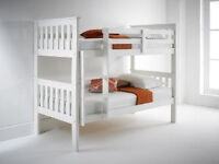 pure white, soild, wooden, flat packed, sturdy, bunk bed, with x 2 thick, quilted, mattress.