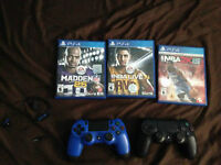 PS4 Console with 2 Controllers and 3 Games
