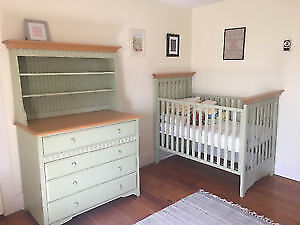 Morigeau Lepine Crib & Dresser w/ Hutch & Toy Chest